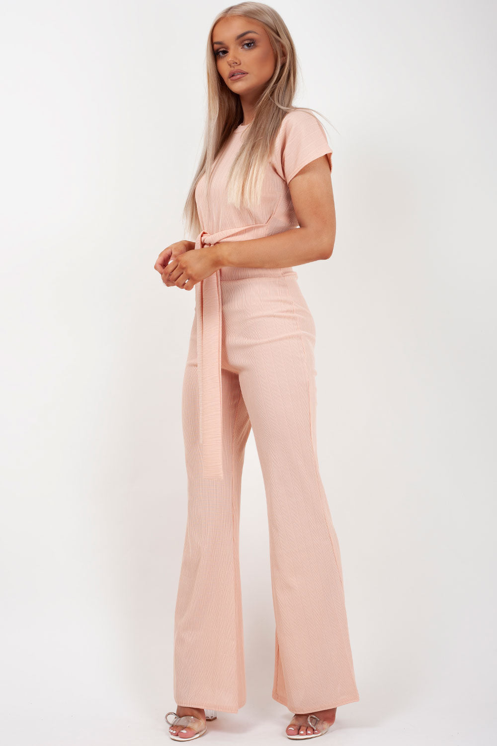 pink ribbed belted co ord set