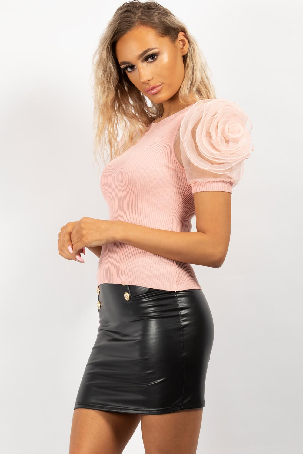 pink rose sleeve ribbed top