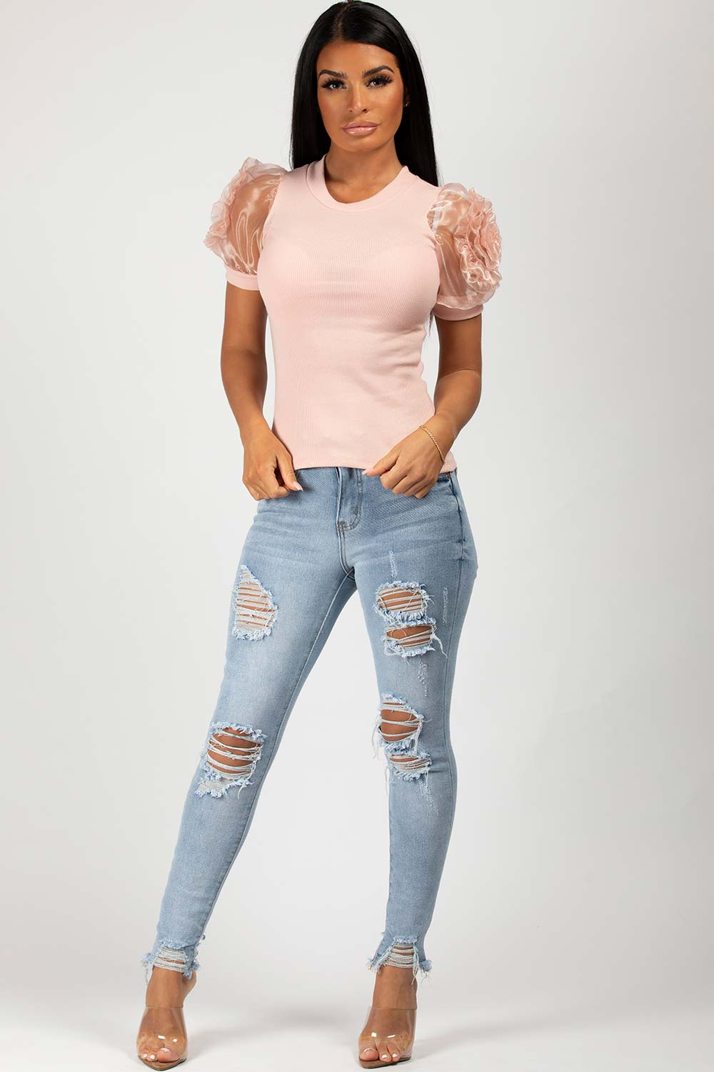 Rose Detail Puff Sleeve Ribbed Top