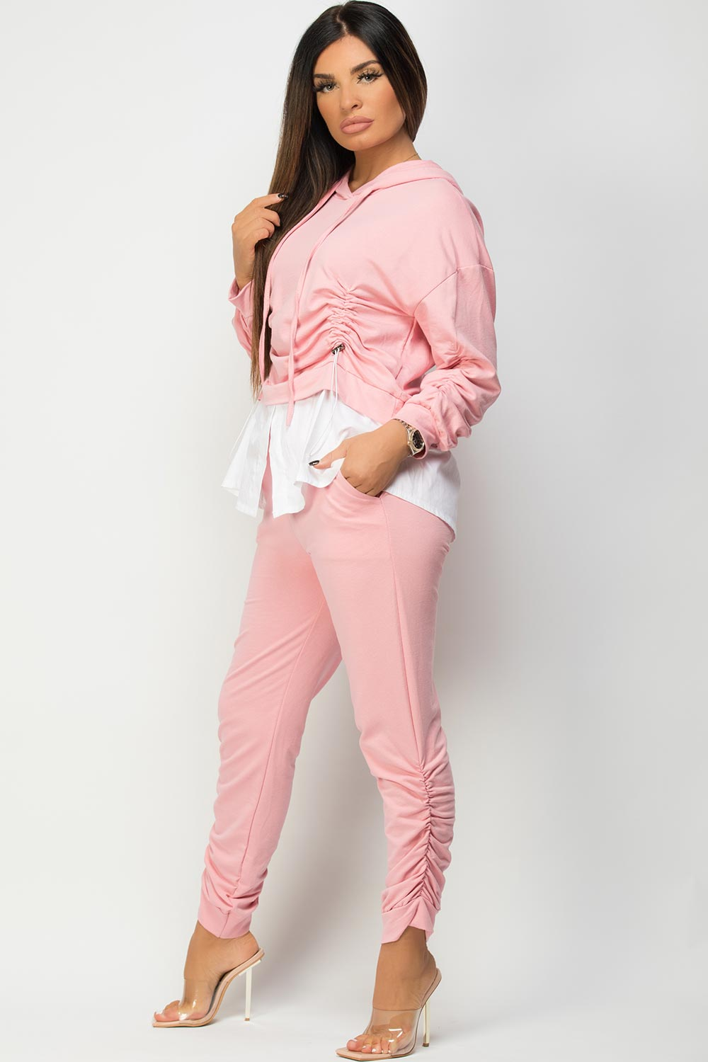 womens pink ruched front loungewear set