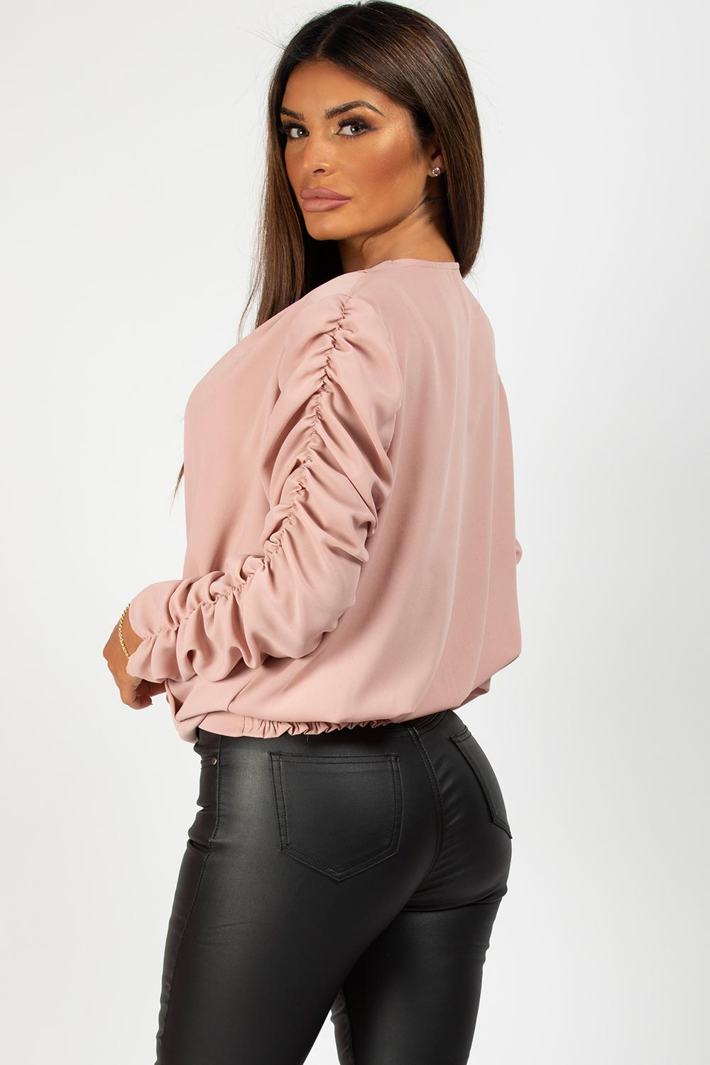 ruched long sleeve pink top