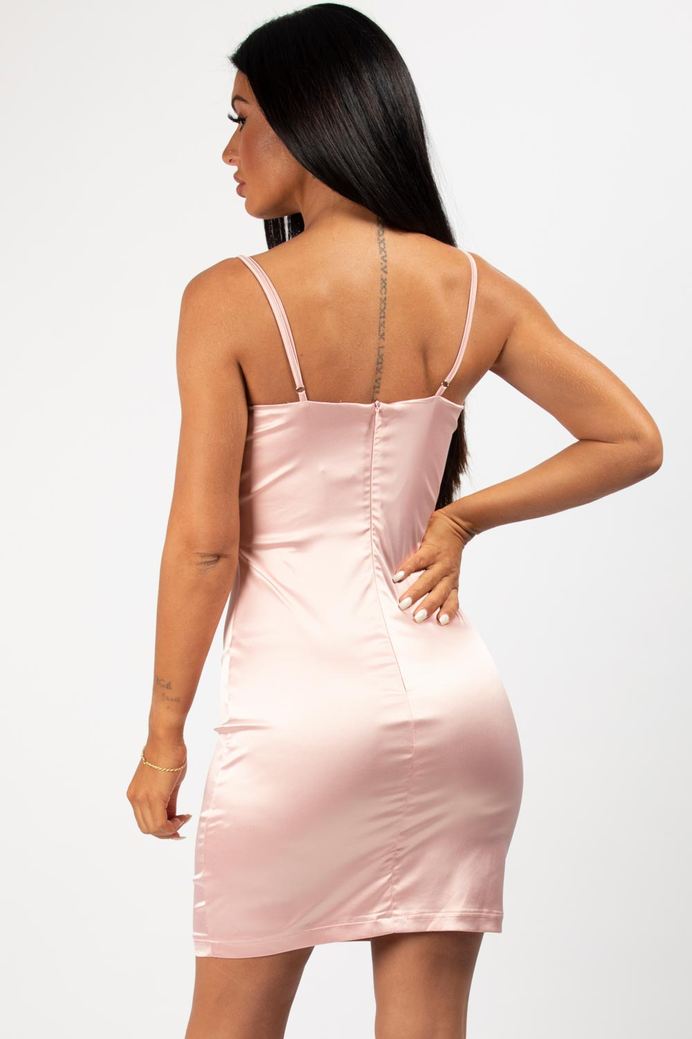 satin mini dress pink