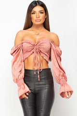 pink ruched front satin top