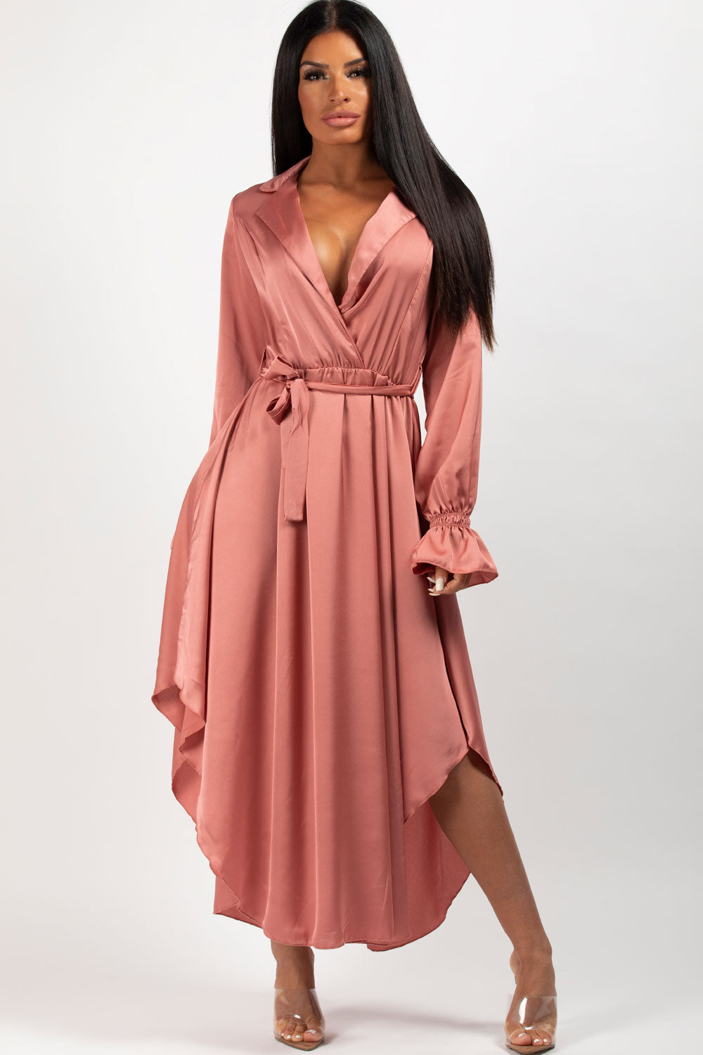 pink satin wrap maxi dress