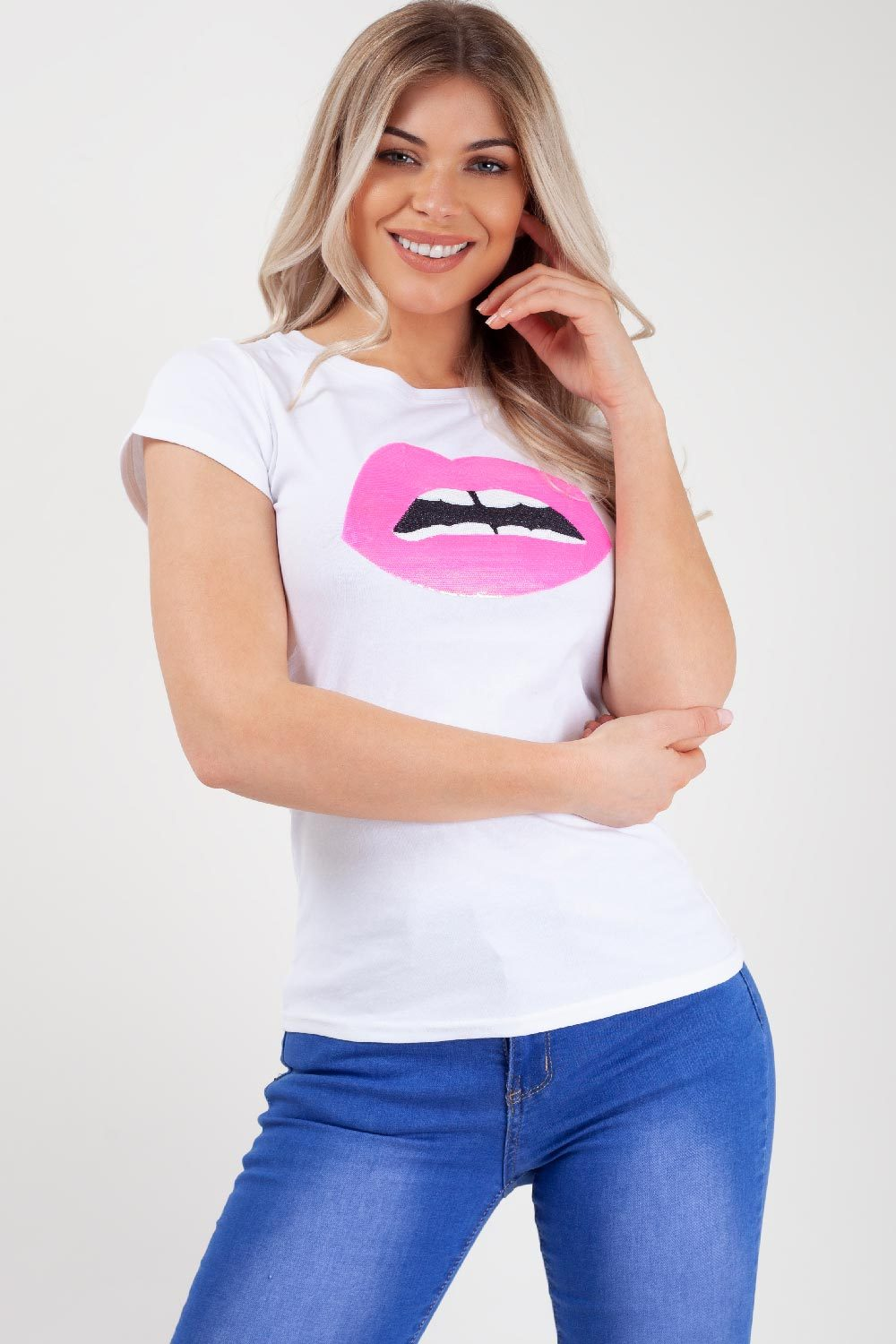 sequin lips white top