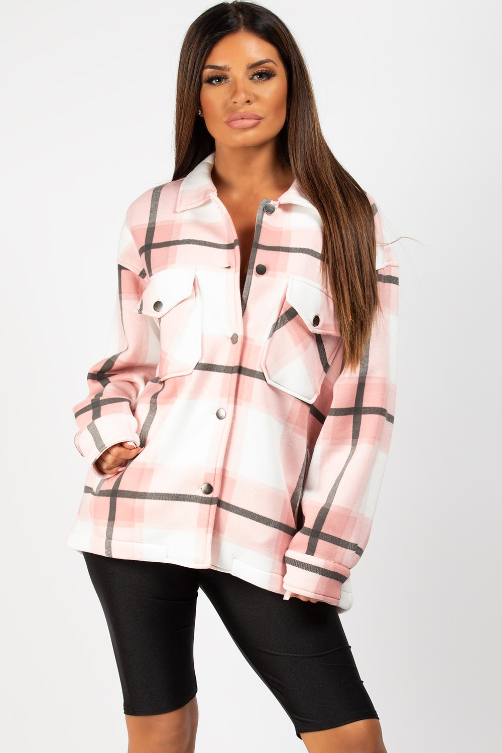 pink check shacket
