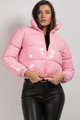 pink shiny wetlook puffer jacket womens