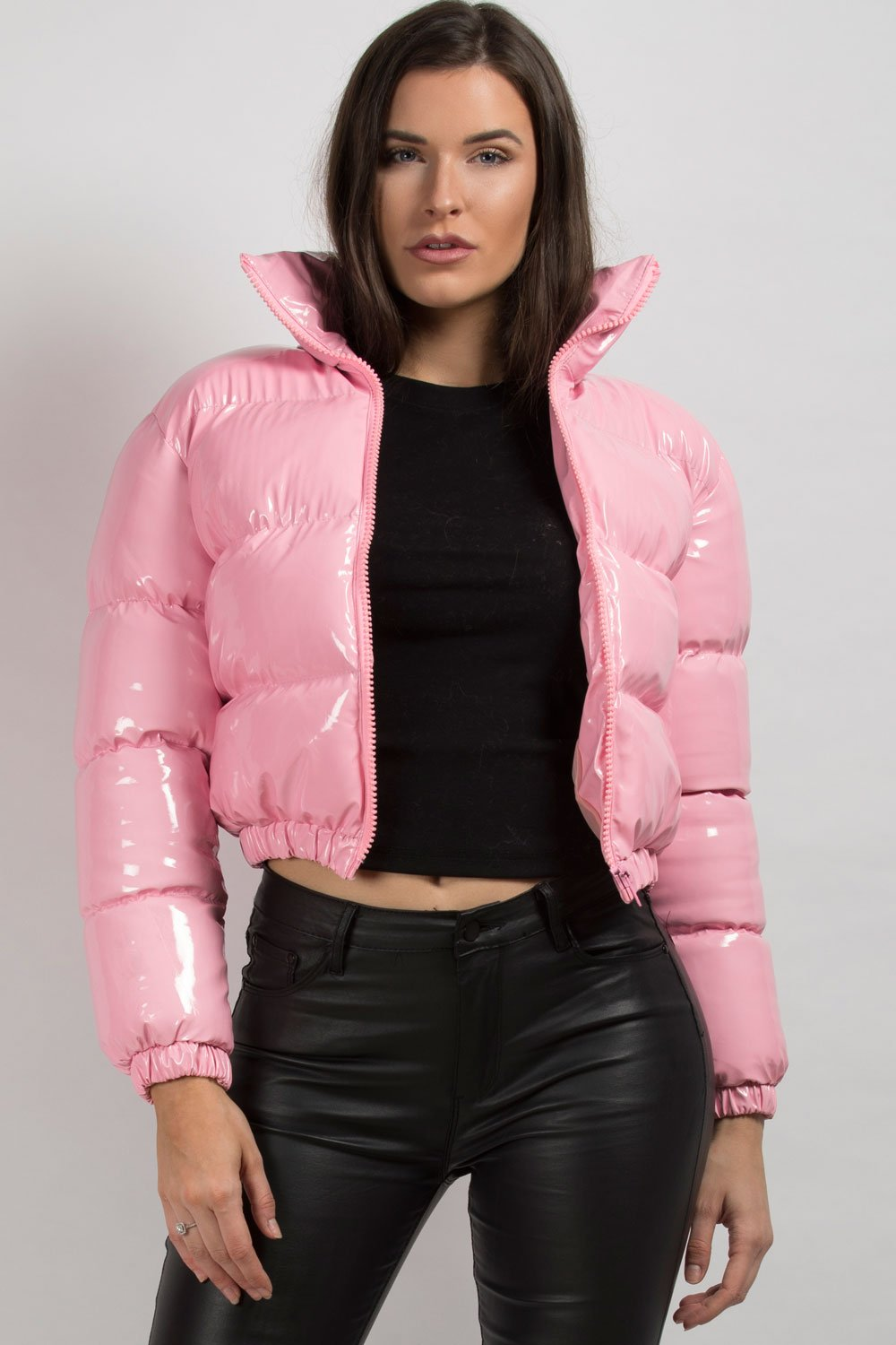 pink wet look puffer jacket womens