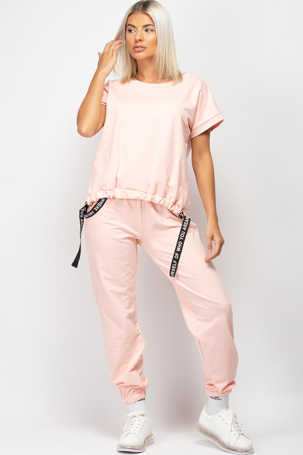 Pink Boxy Lounge Set With Strap Detail