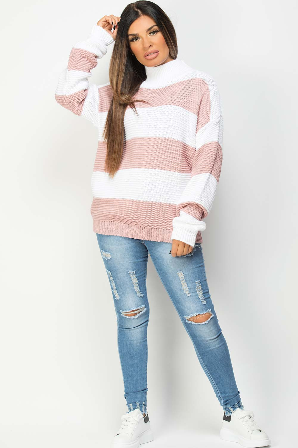 womens jumper with pink stripes