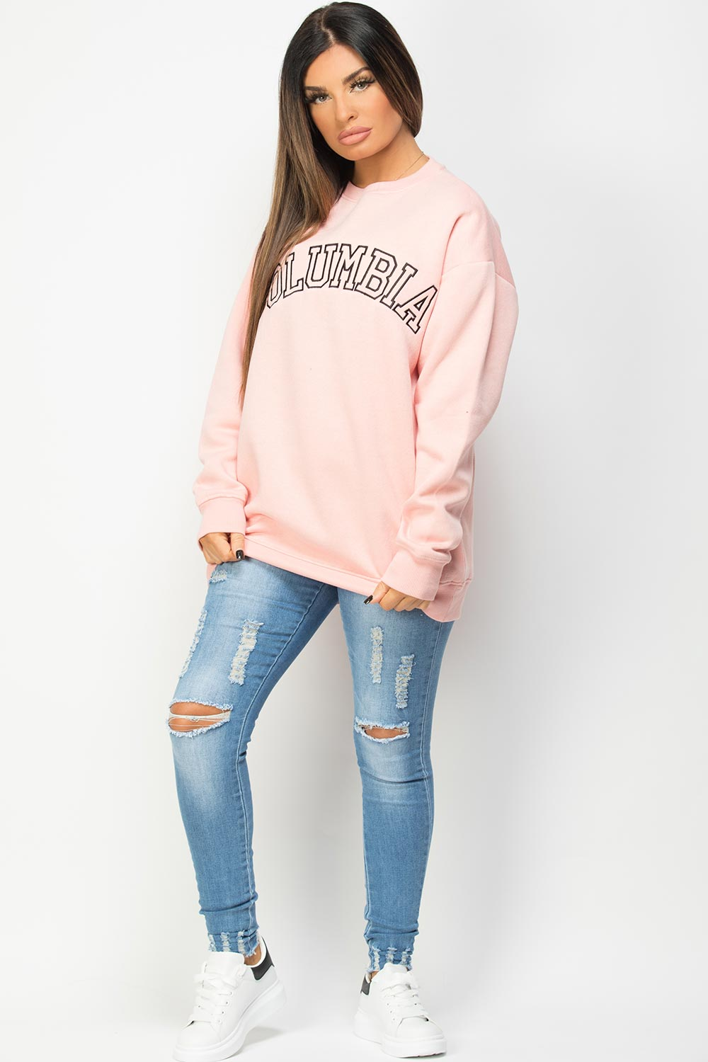 pink oversized sweatshirt with columbia embroidery