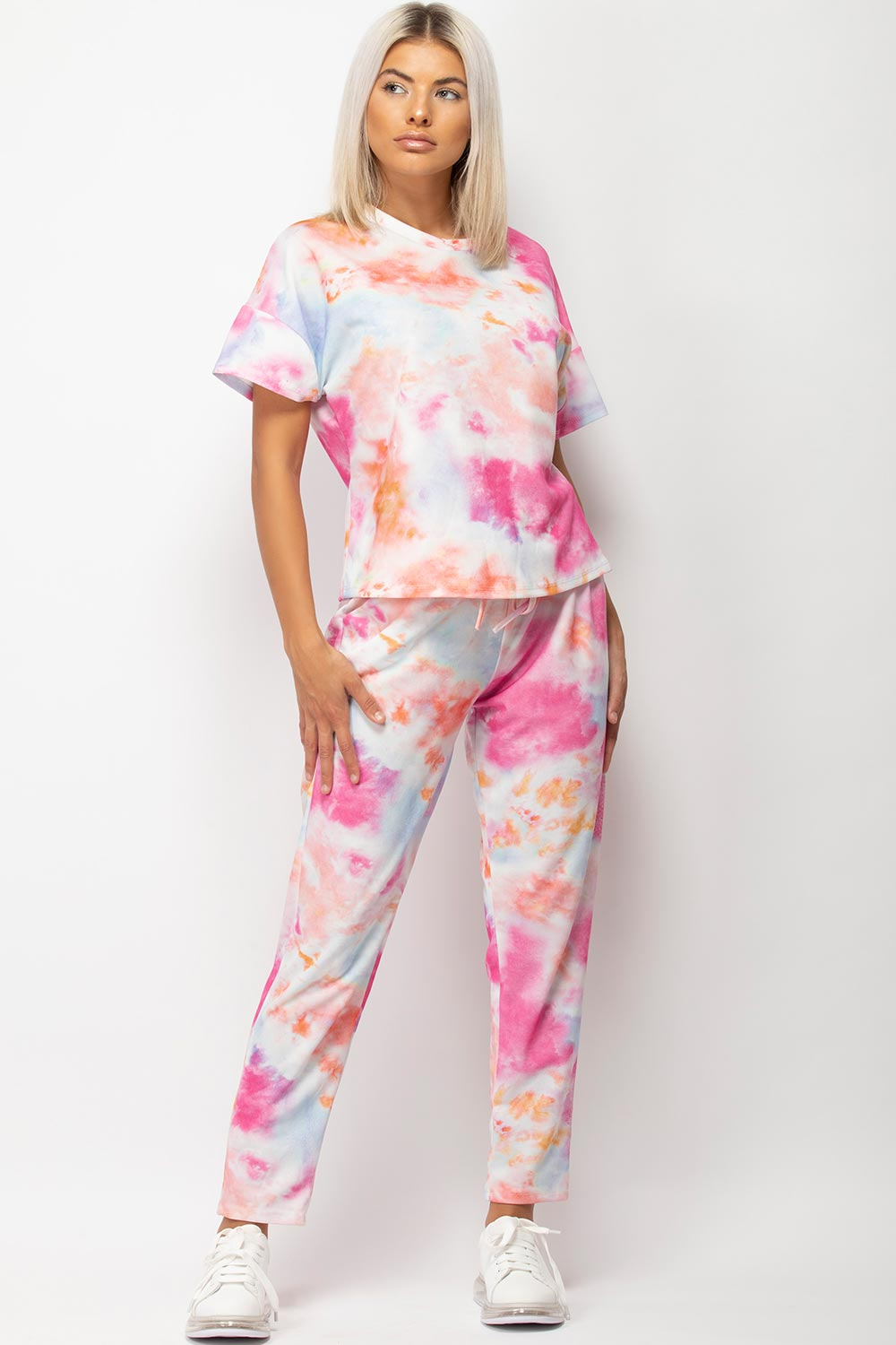 tie dye lounge set womens