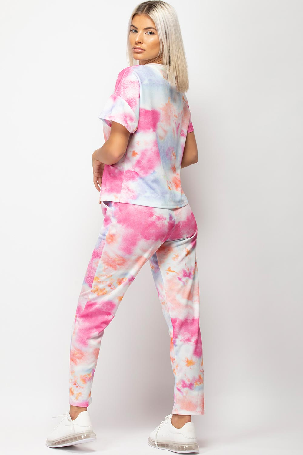 pink tie dye lounge set womens