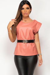 padded shoulder pink faux leather top