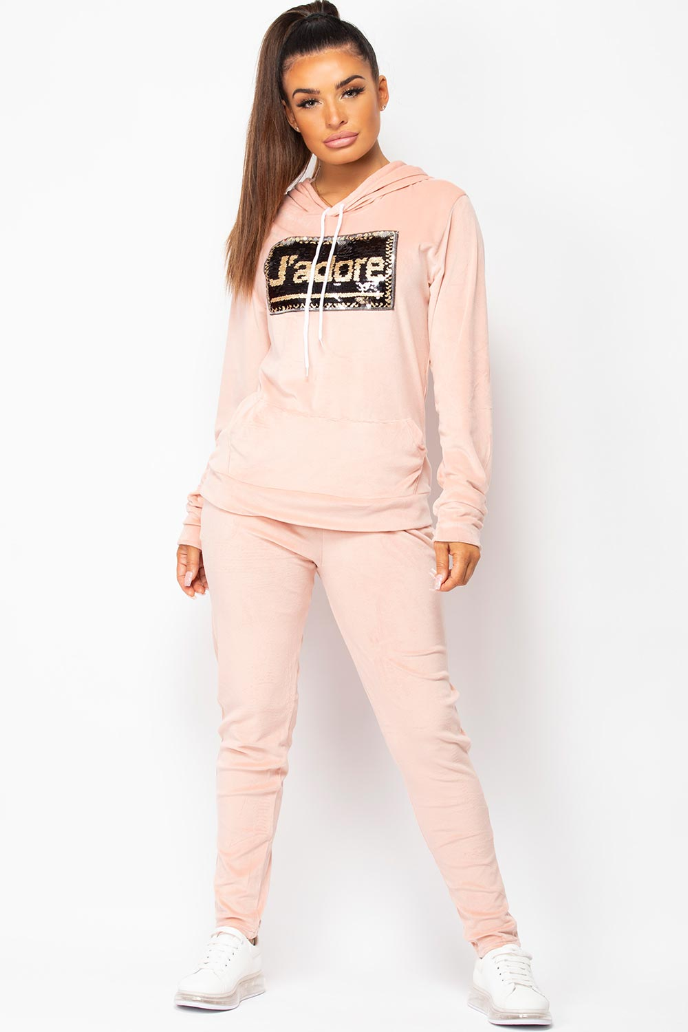 pink velour tracksuit set