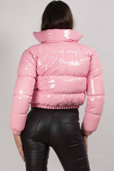 pink padded puffer jacket