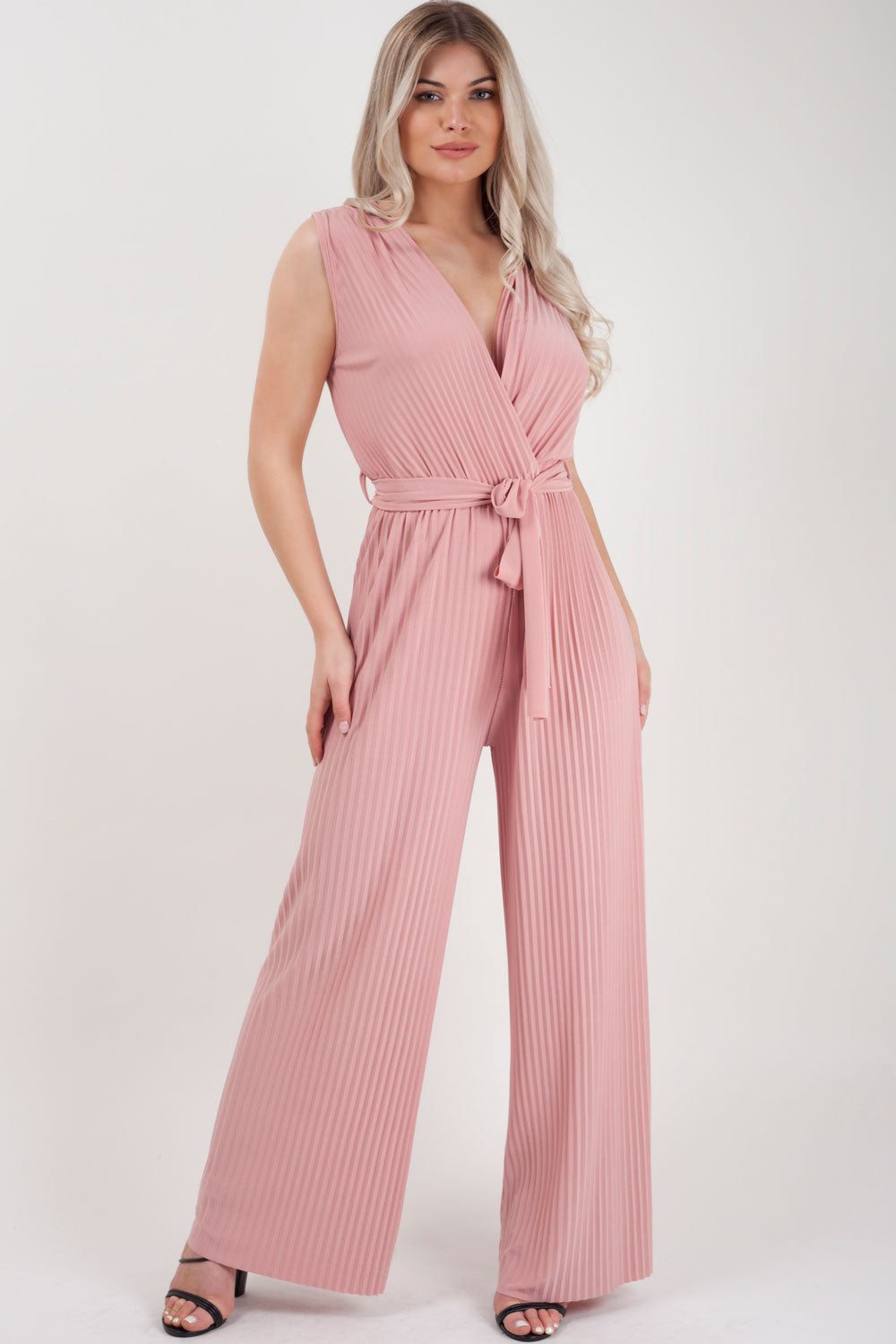 pink wide leg jumpsuit styledup fashion
