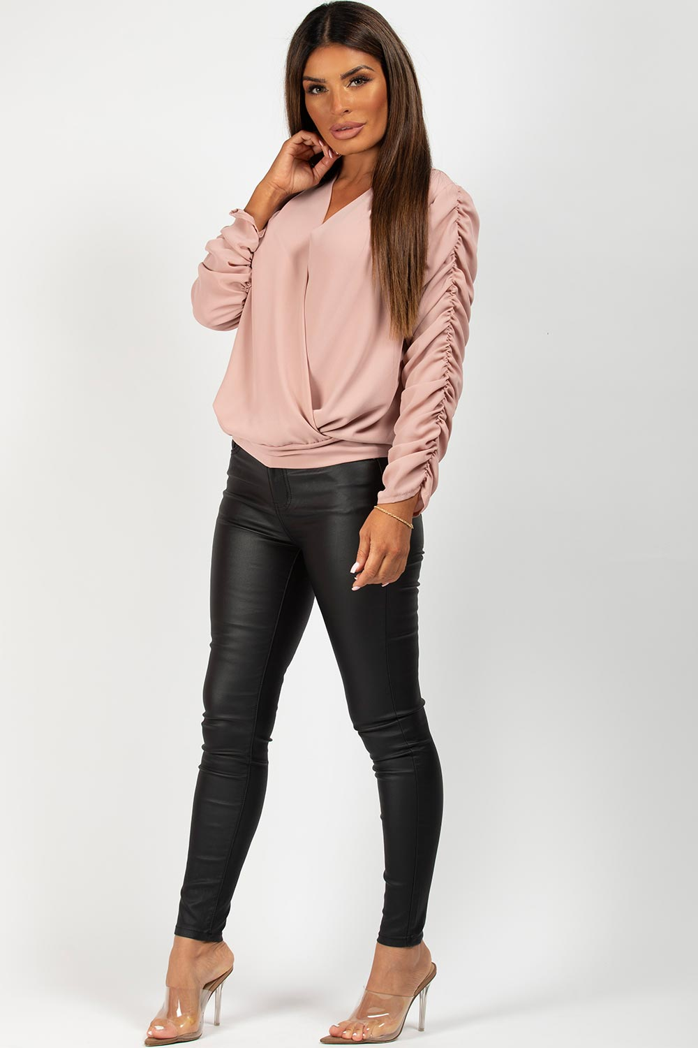 pink long sleeve going out top