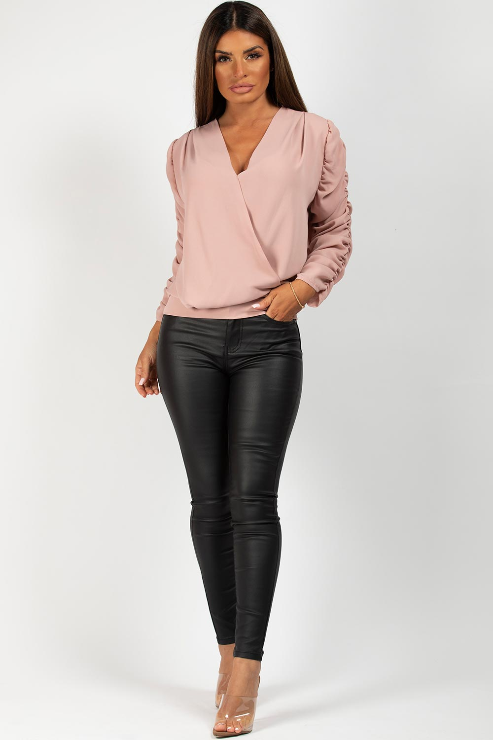 pink ruched arm blouse