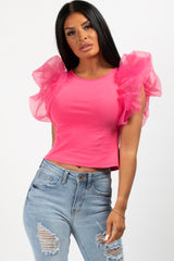 organza puff sleeve top hot pink