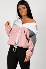 pink festival oversized reflective jacket womens