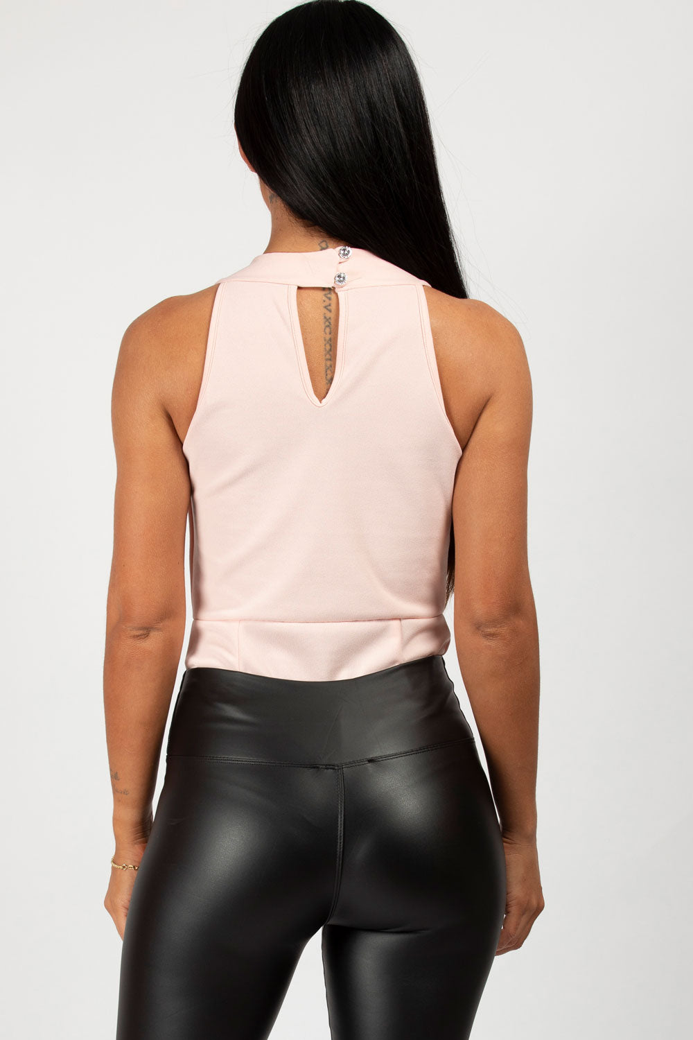pink sleeveless bodysuit