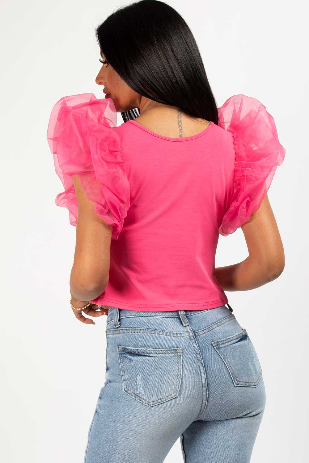 puff sleeve tee shirt pink