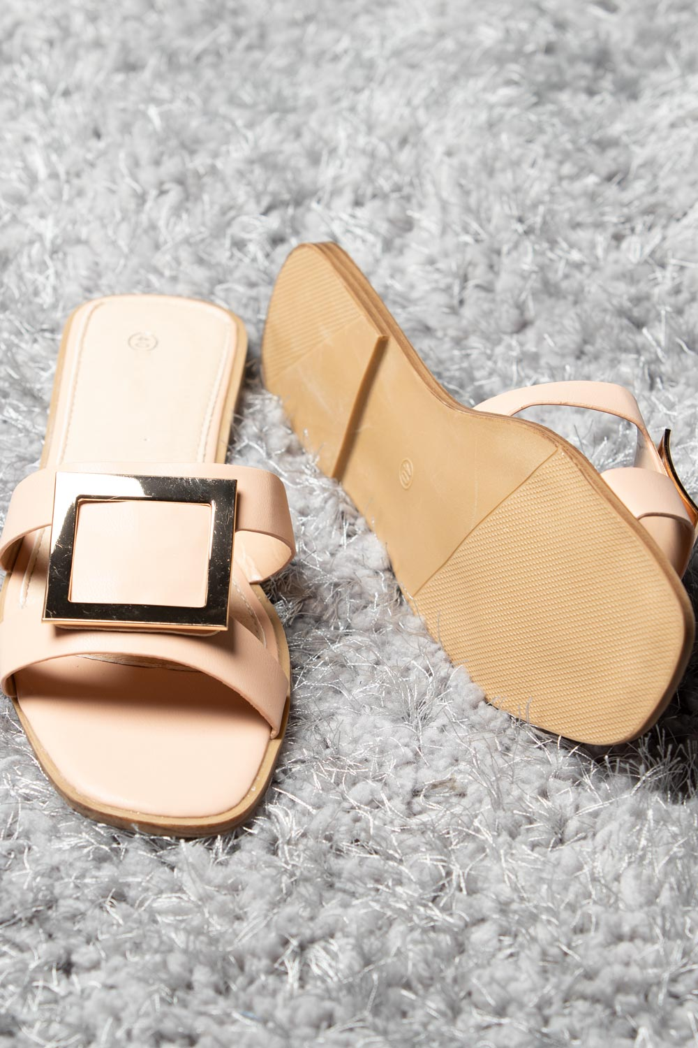 pink gold buckle sliders