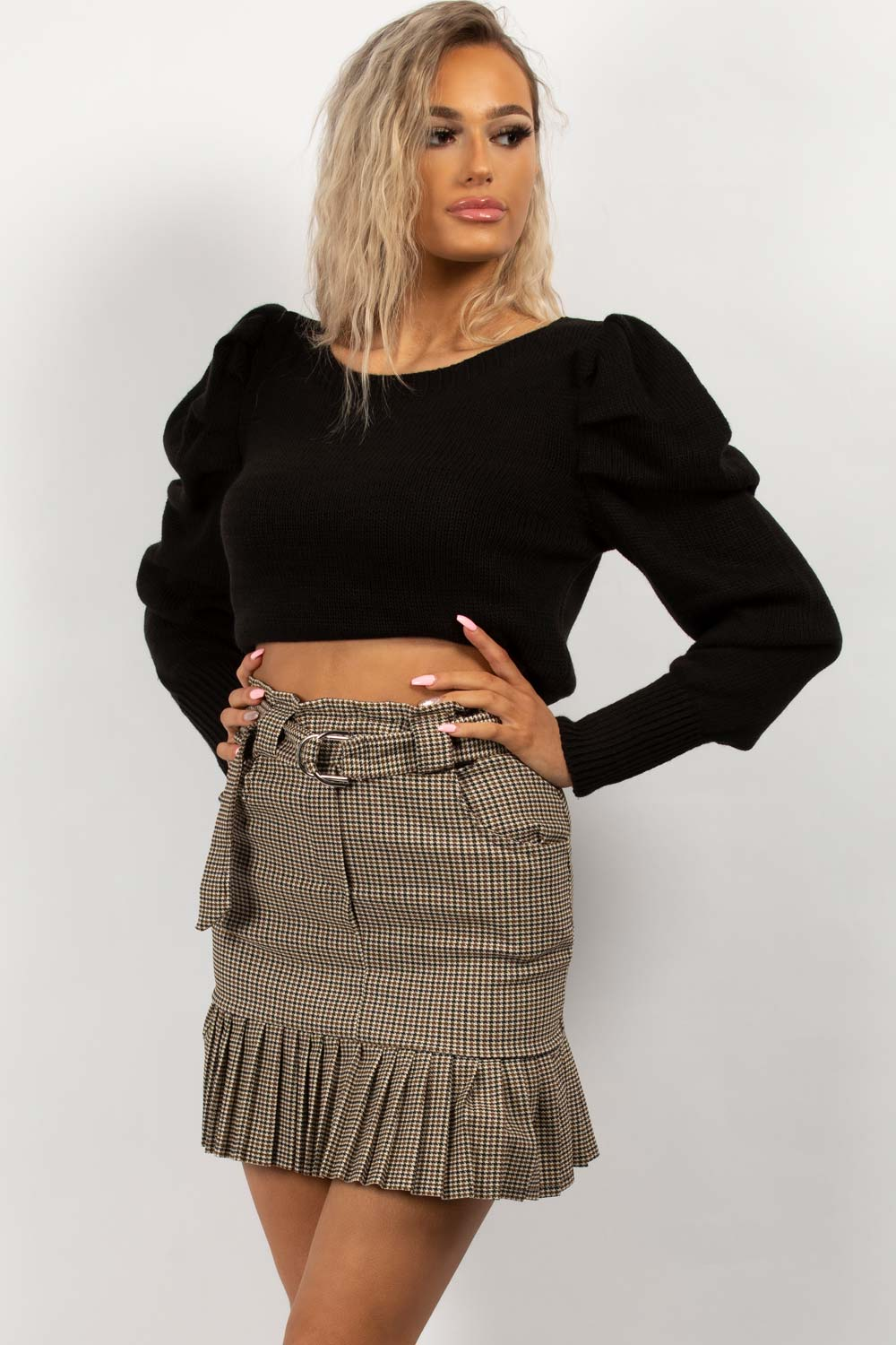 ruched sleeve black jumper uk