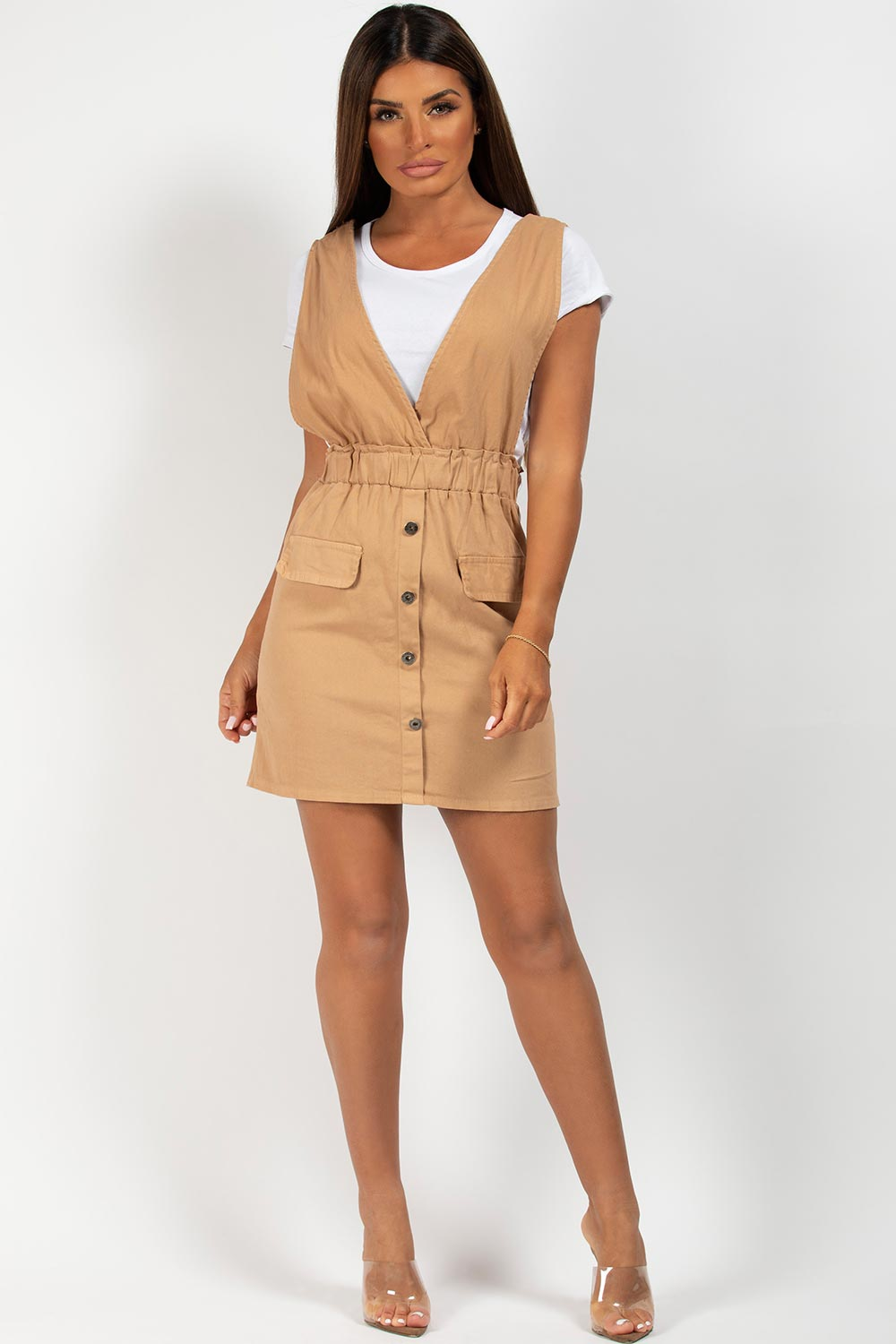 stone plunge button front pinafore