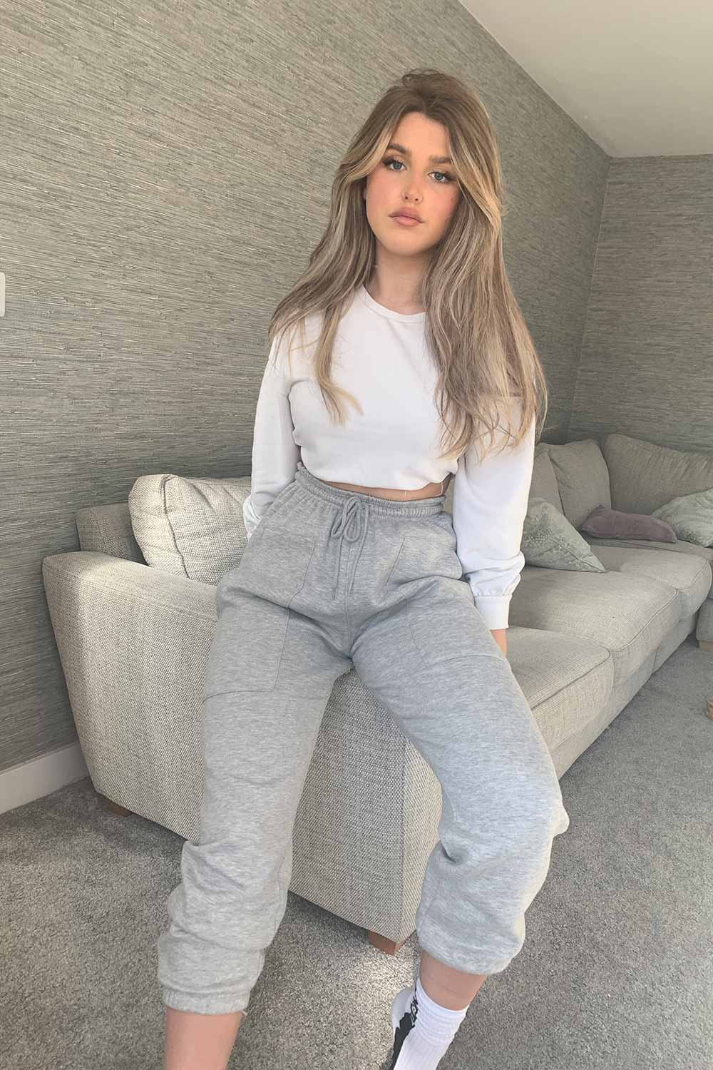 grey pocket front high waisted joggers