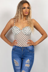 polka dot mesh cupped bodysuit