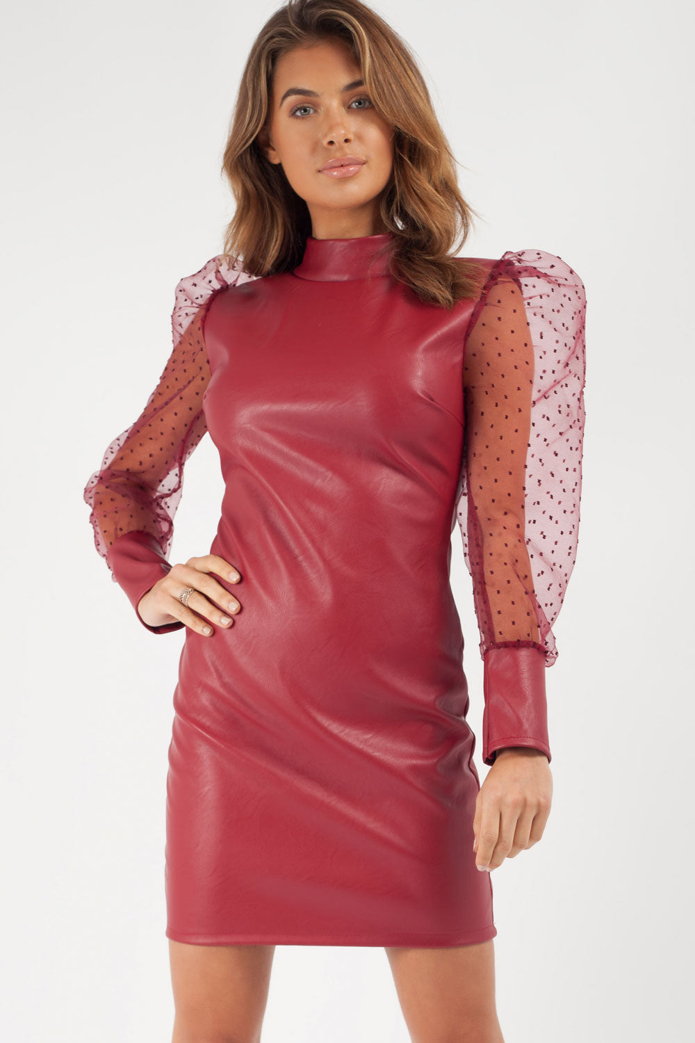 faux leather bodycon dress wine