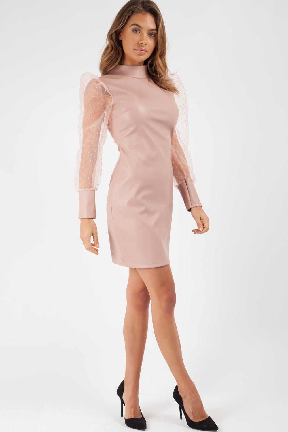 puff sleeve nude faux leather dress