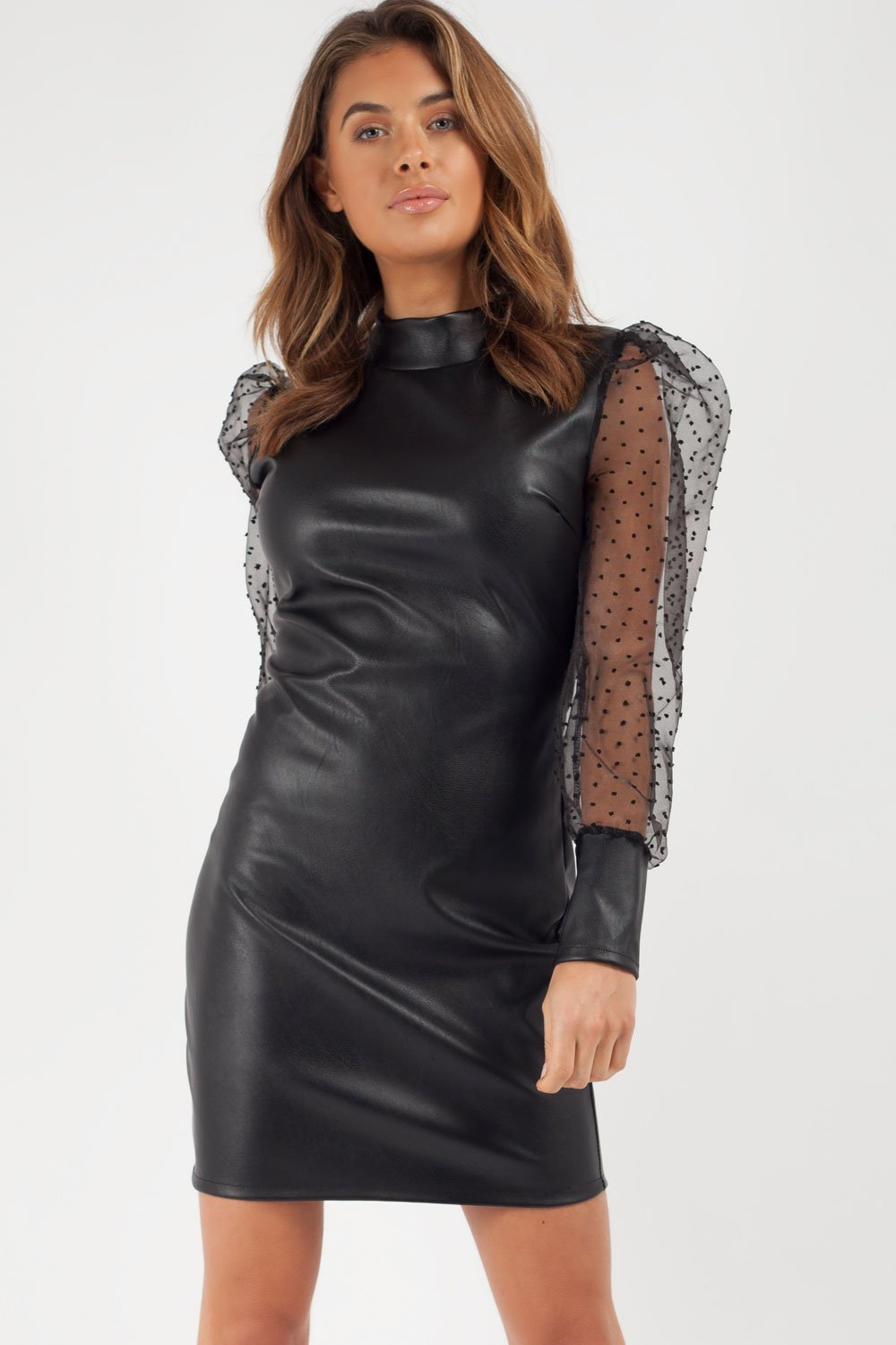 black faux leather dress uk