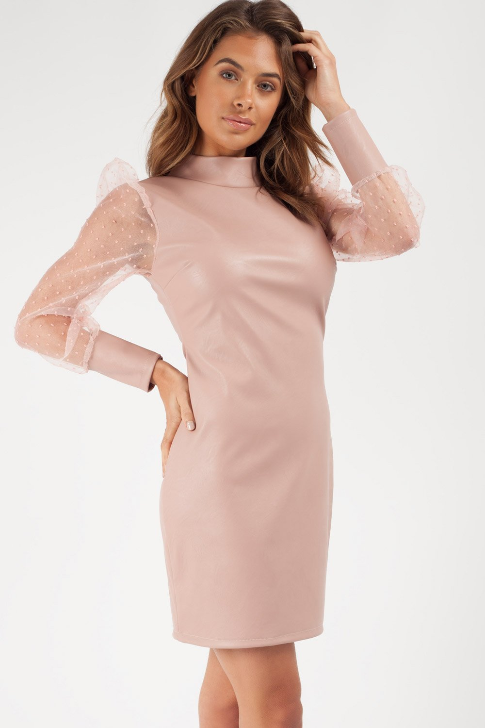 nude faux leather bodycon dress