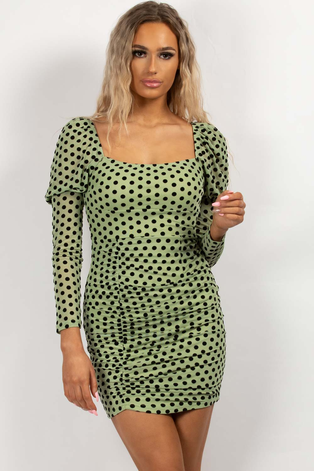 polka dot bodycon dress green