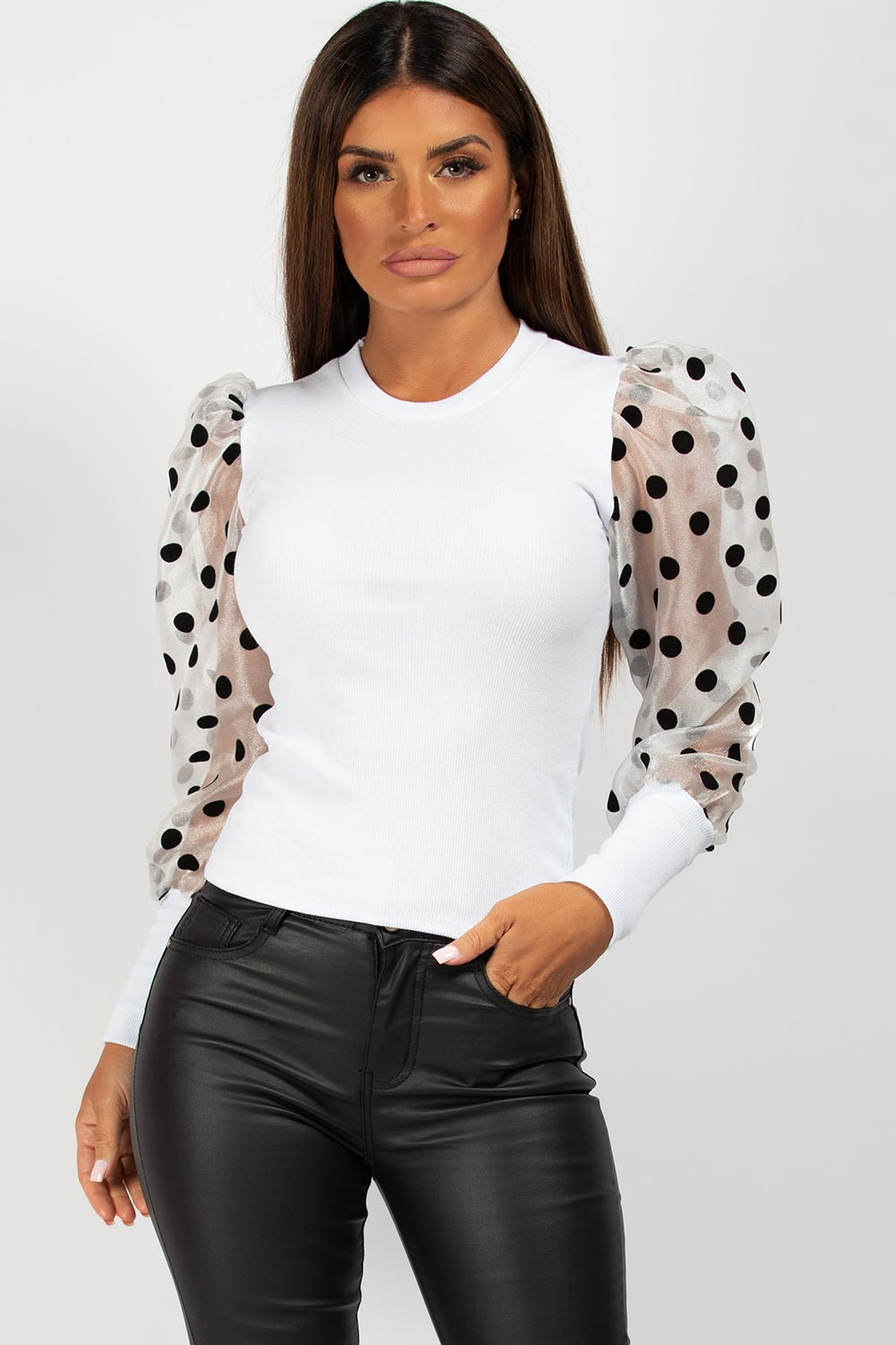 polka dot puff sleeve ribbed top white