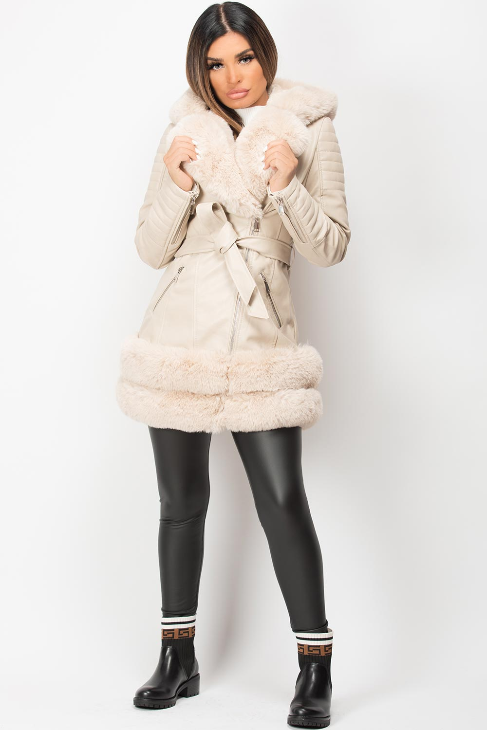 cream faux fur hooded faux leather jacket
