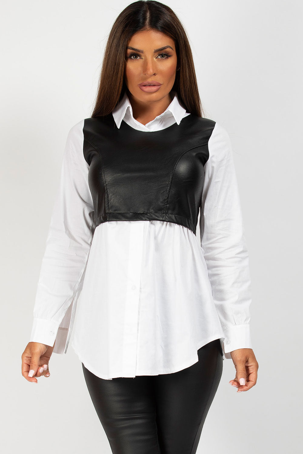 black and white pu bust panel shirt