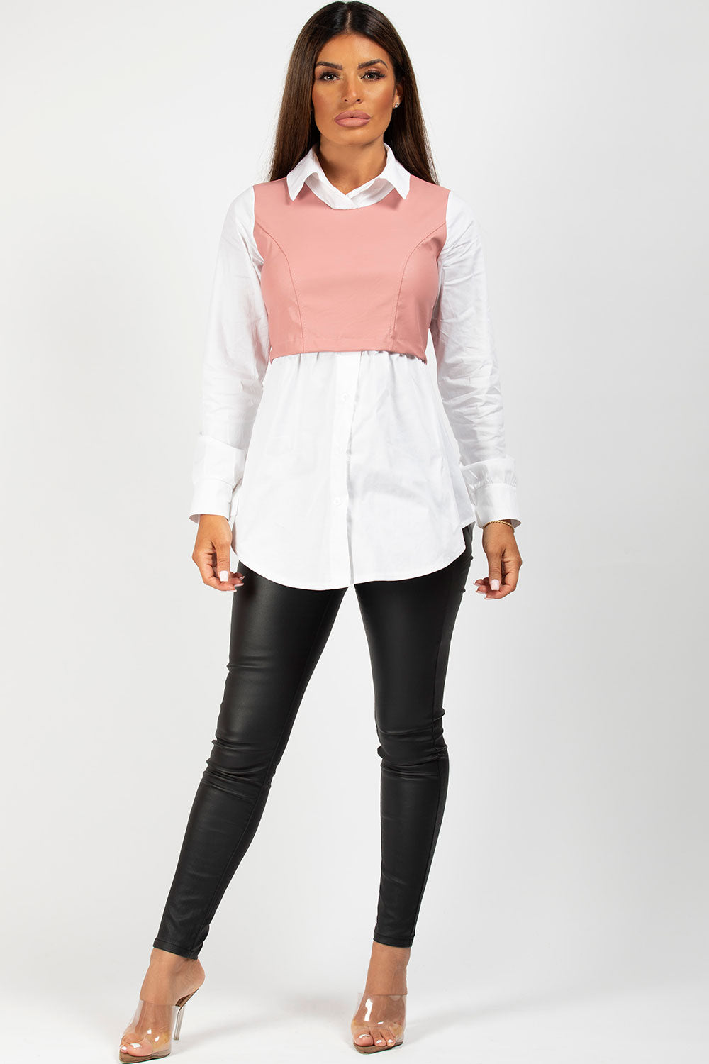 pink and white pu panel shirt