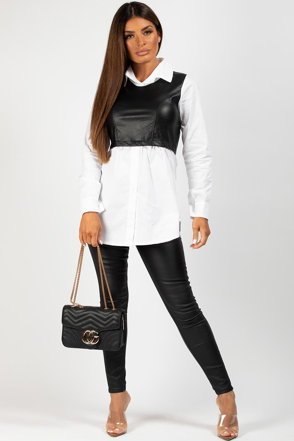 black faux leather  panel shirt white