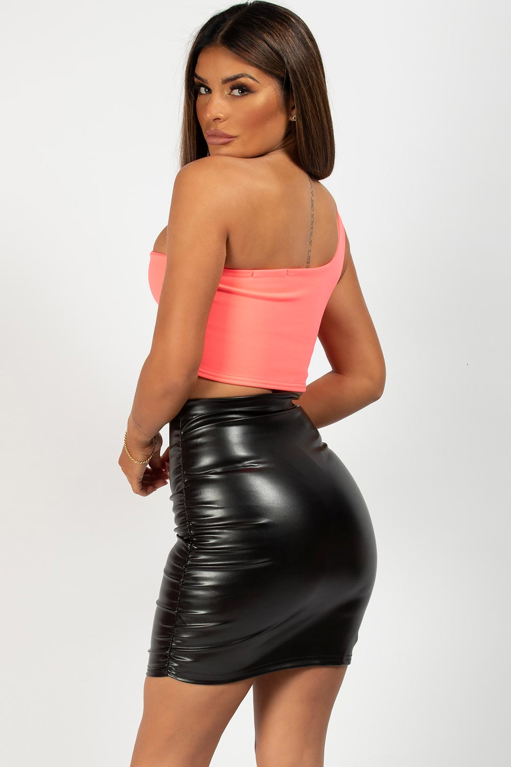 pu ruched mini skirt black