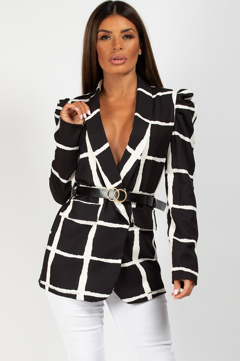 monochrome double circle belt puff sleeve blazer