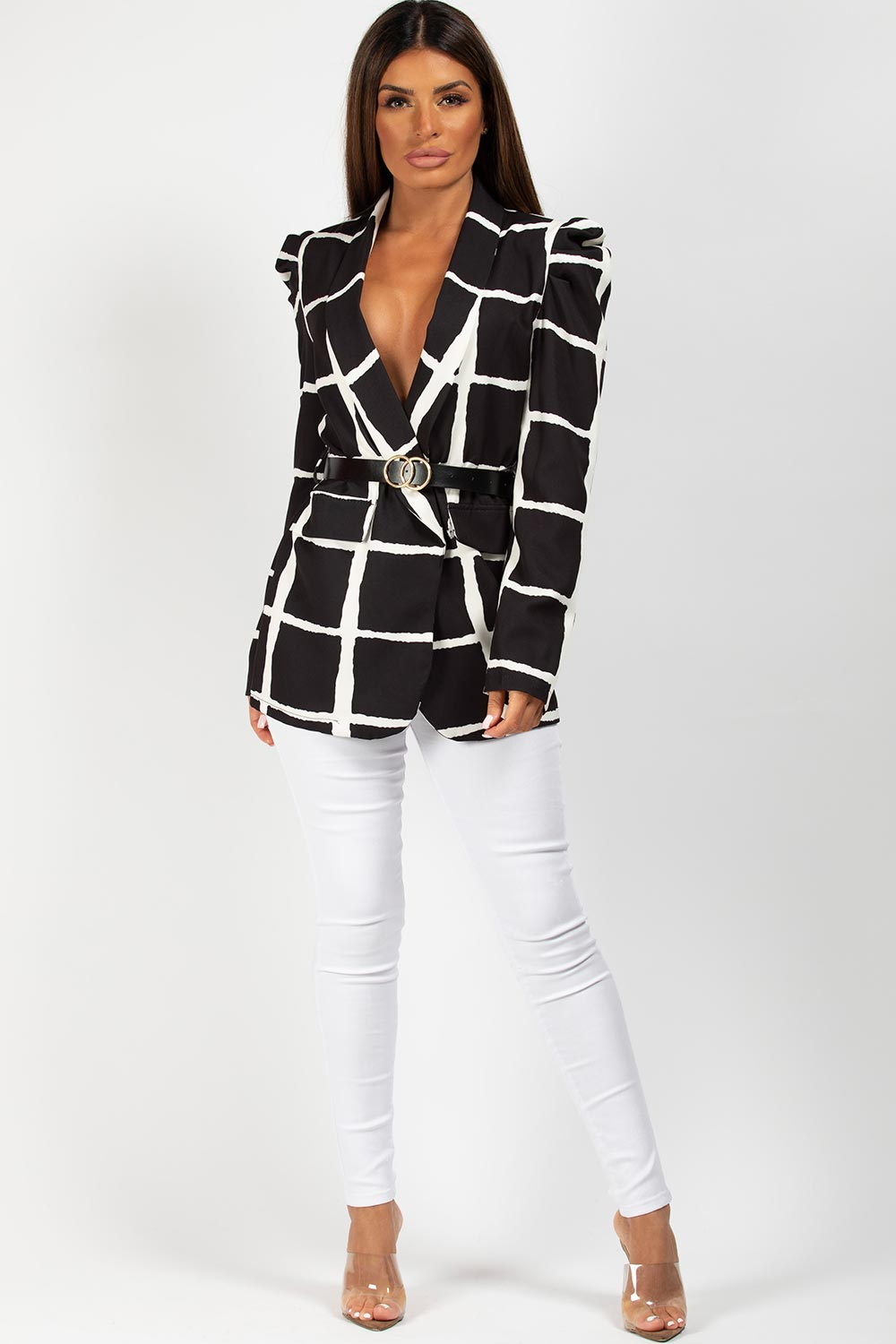 puff sleeve blazer with double circle belted blazer