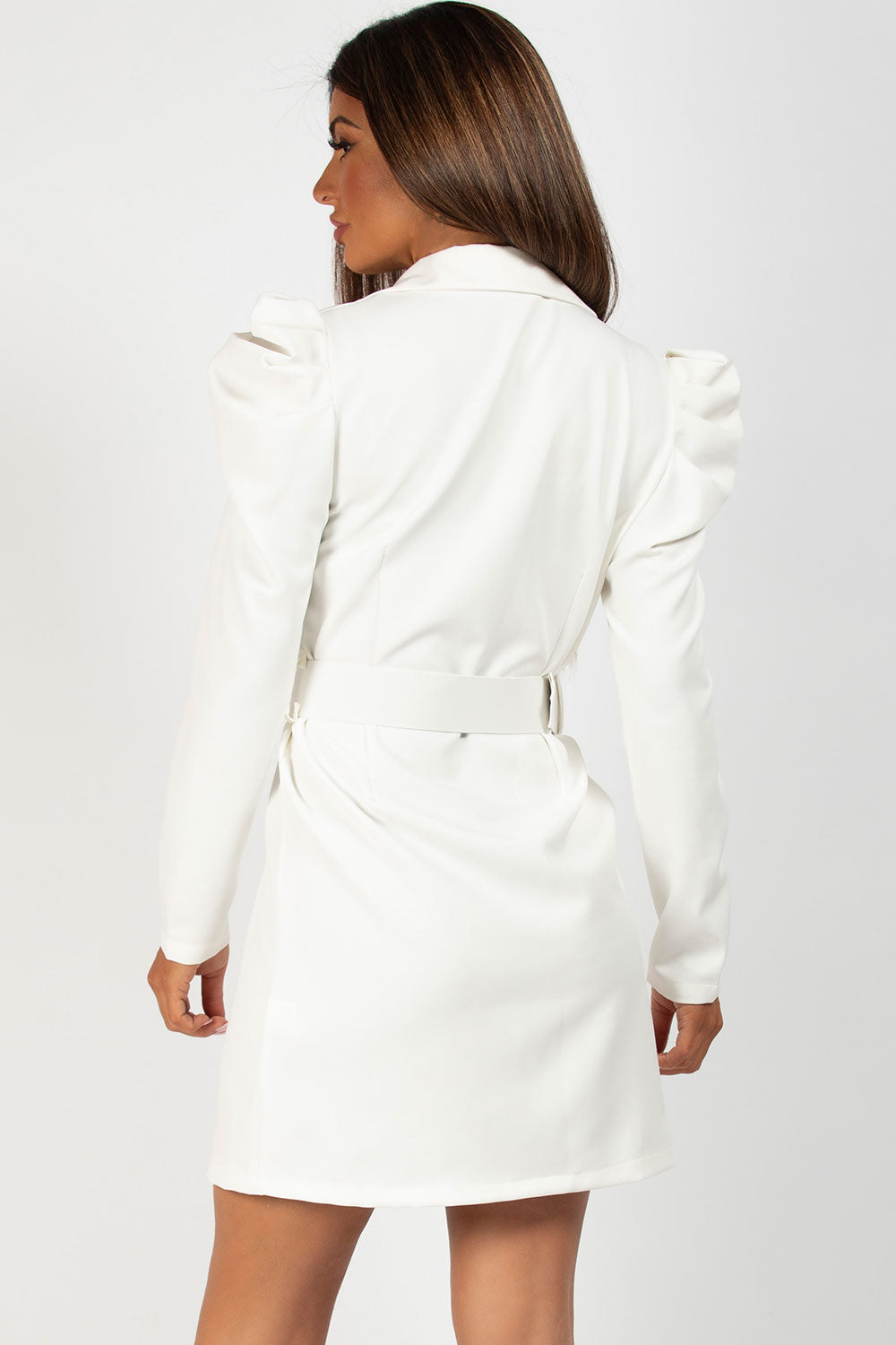 puff sleeve blazer dress with belt cream