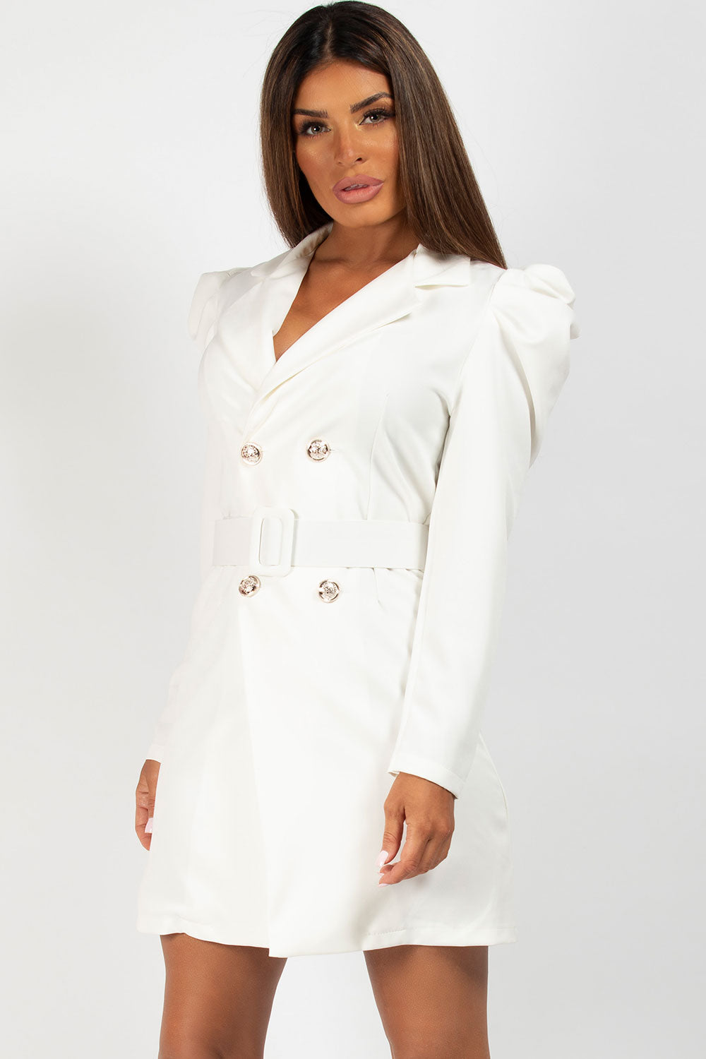 puff sleeve blazer dress cream