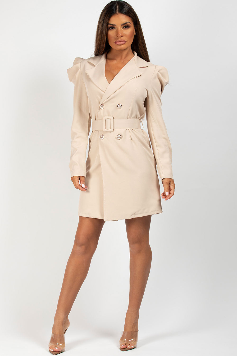 belted blazer dress stone