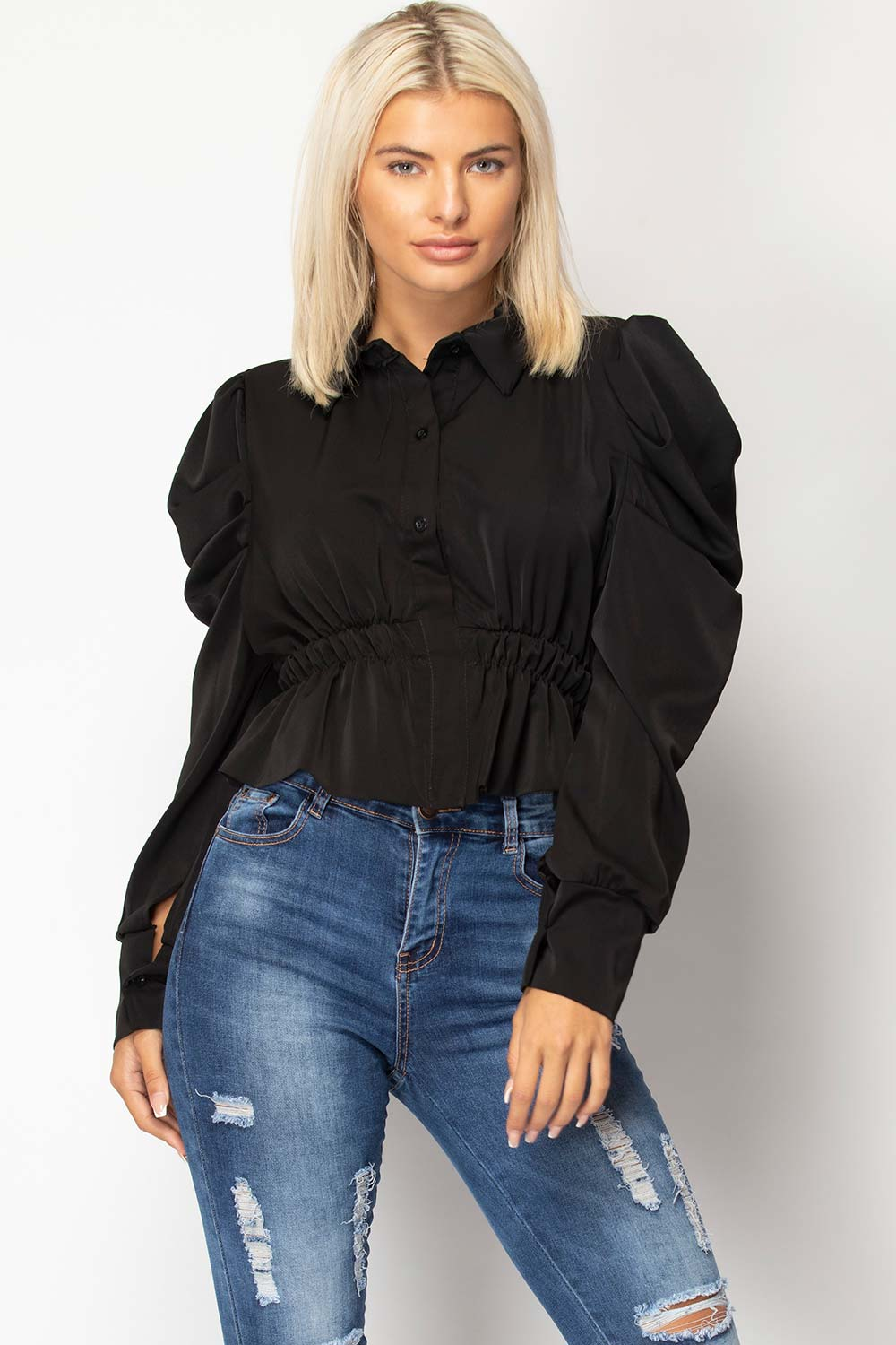 black puff sleeve top styledup fashion