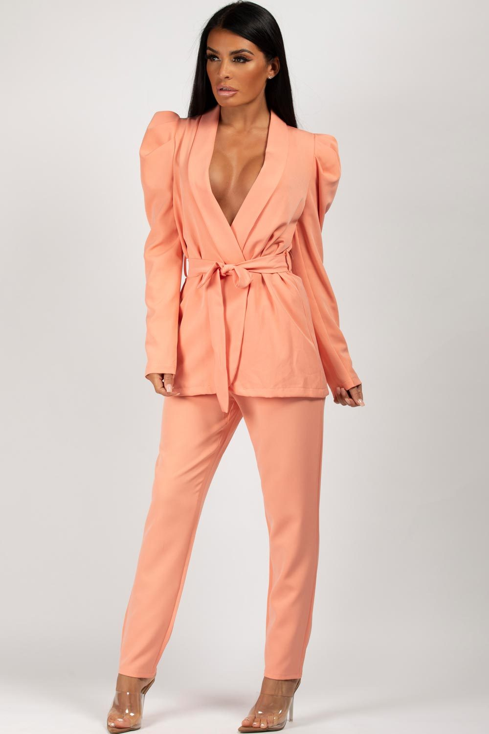 puff sleeve blazer trousers two piece set